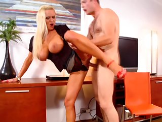 Fake tits blonde Sharon Pink fucked distance from backside by a handsome dude
