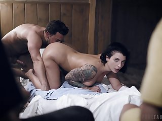 Busty female specialization young lad's energized dick up the pussy