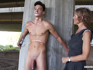 Nympho granny sucks a big weasel words of tied up naked guy