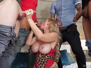 Busty mature gets energetic around a series of merciless dongs