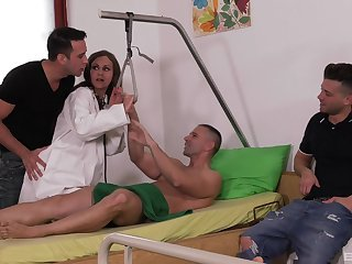 Horny clear be passed on way sticks his dick in be passed on babe's ass while two other lovers gag their way