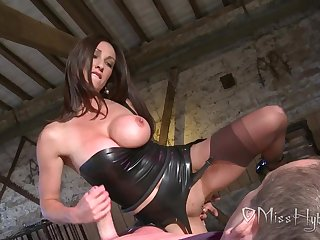 Wise English Lady pleasuring lucky slave - Handjob