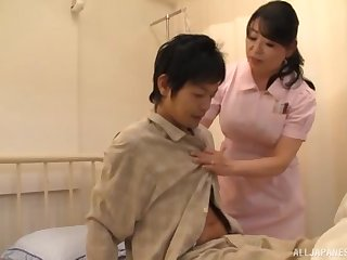 Asian nurse drops their way pantihose to urgency a patient's stiff dick