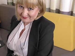 A highly pizzazz job interview by 57yo handsome Lorna blu