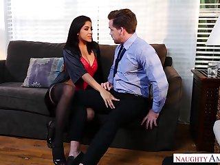 Lewd milf in stockings Mia Martinez seduces duo married man