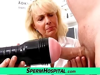 Blonde lady doctor Koko old with young CFNM exam increased by handjob