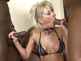 BBC satisfies older lass Cathy during a rough gangbang fuck