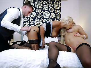 Man fucks both the wife and the maid in a flawless abode trio