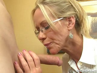 Video of naughty MILF Simone Sonay stroking and sucking his dick