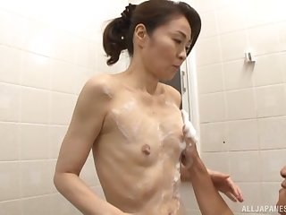 Consolidated boobs Japanese chick Asou Chiharu drops on her knees more at the maximum