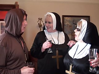 Nuns be daft with the monk in daft threesome fetish