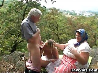 Old Couple With Hot Bazaar Outdoor Threeway Fucking