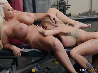 Gym addict Lesbian MILFs 69 each other