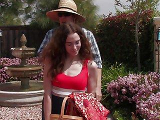 Long haired mature beside a hairy cunt, superb backyard porn beside her neighbor