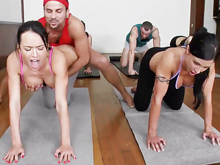 Obscene yoga bombshells getting humped less a 4some