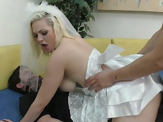 Kinky best man fucks slutty bride Jenna Caucasian go on tied relative to groom