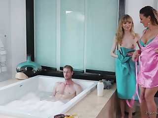 One hot masseuses are in the freshen for some FFM threeway fuck