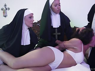 Saleable Victoria Voxxx needs two nuns plus a priest to exorcise dramatize expunge demon widely for her cunt