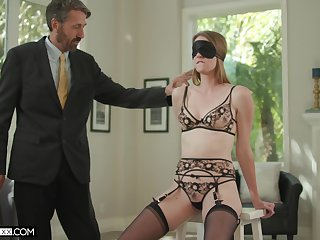 Venerable husband fucks blind look-alike young wife Ashley Lane and cums on her face