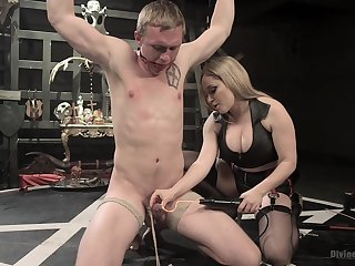 Blonde with beamy tits, full domination on man's ass