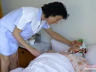 Fat granny seduces a nurse come by having intercourse with her